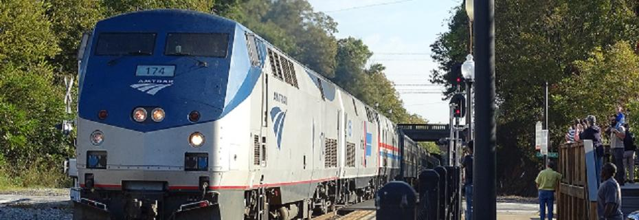 Amtrak excursion train to Toccoa, GA arrives at the Magnolia Street Depot