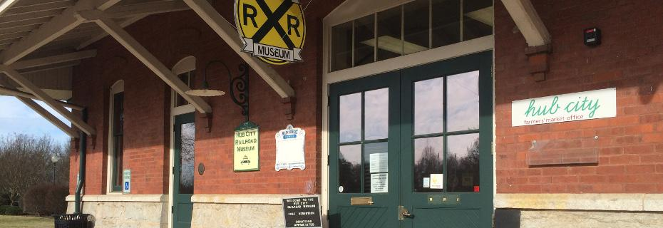 Hub City RR Museum entrance at the Spartanburg Depot