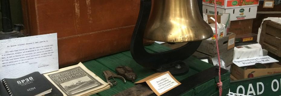 Locomotive bell and other items on display in the Museum