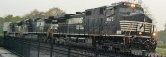 A Penn Central Heritage Unit is third in the lash-up on a rainy April 5th at the museum
